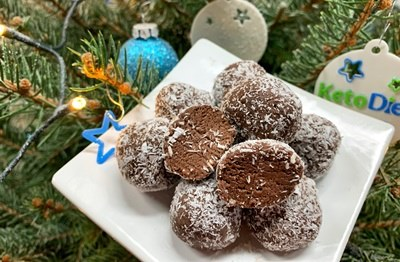 Chocolate balls rolled in coconut