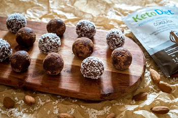 KetoDiet chocolate balls with nuts. Dietary dessert even when on a diet