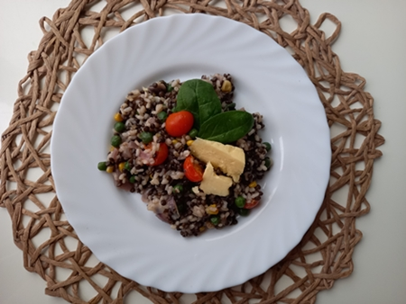 Risotto with beluga lentils