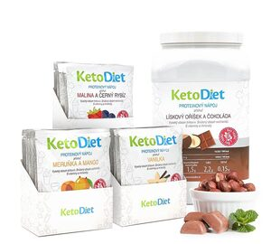 Diet drink pack BASIC Step 2 from KetoDiet contains protein drinks with apricot -mango, raspberry-black currant, vanilla and hazelnut-chocolate flavours.