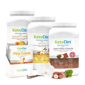 Diet drink pack INTENSE Step 2 from KetoDiet contaibs protein drinks with vanilla, apricot-mango, hazelnut-chocolate and Pina Colada flavours.