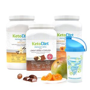 Diet drink pack MEDIUM Step 1 from KetoDiet contains protein drinks with vanilla, apricot-mango and hazelnut-chocolate flavours. A useful shaker is included.